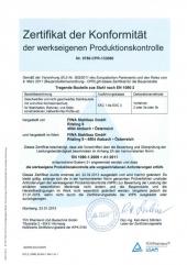 Zertifikat EN1090-2 EXC 3 deutsch