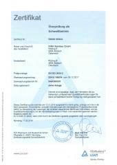 Zertifikat EN ISO 3834-2 2018